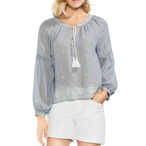 Vince Camuto Embroidered Gauzy Chambray Top